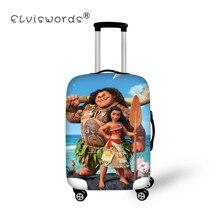 ELVISWORDS чехол на колесиках Защитная крышка для чемодана костюм для 18-30 дюймов Моана принт Чехол Эластичный чехол для чемодана путешествия Aaccessories