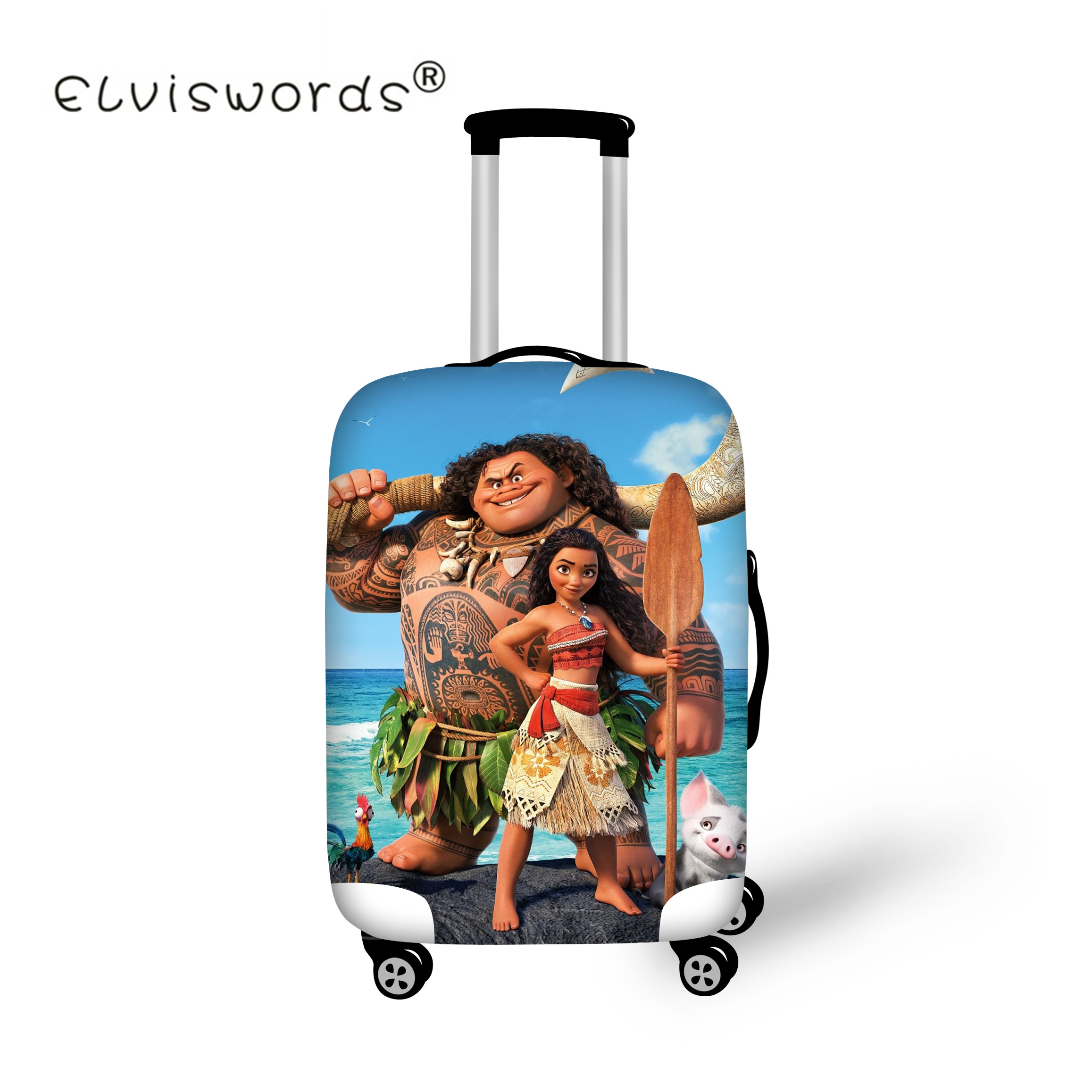 ELVISWORDS Trolley Case Protective Luggage Cover Suit For 18-30 Inch Moana Print Case Elastic Suitcase Cover Travel Aaccessories