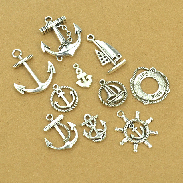 10 pcs Mix sale vintage metal Anchor and rudder tibetan silver diy Charms Fit Pe