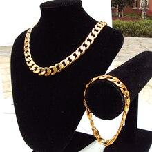 24k штампованный Золотой GF Finish Iced хип-хоп браслет на цепочке, мужское кубинское ожерелье, 12 мм, широкий набор, 7 дней, нет причин возвращать деньги