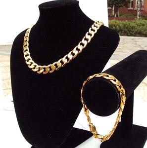 Мужской браслет с цепочкой в стиле хип-хоп, 24 k, с золотым GF покрытием, ожерелье в Корейском стиле шириной 12 мм, 7 дней, без повода для возврата ...