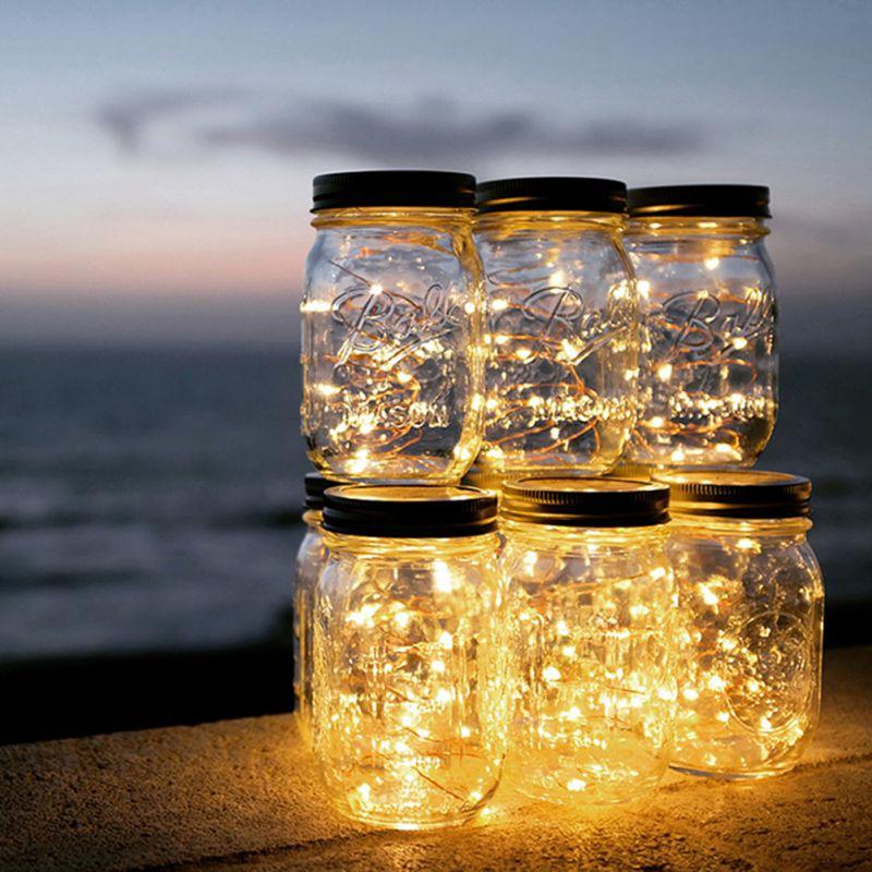 2m Solar Fairy Lights Mason Jar Lid Lamp Xmas Outdoor Garden Decor