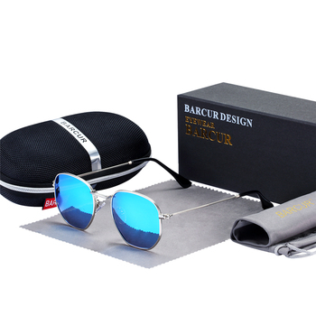 BARCUR Sunglasses Men Women Brand Design UV400 Mirror Male Sun Glasses Retro Mirror glassses 22mm Vintage Eyewear Accessories