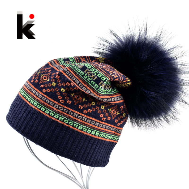 Autumn Winter Beanie Fur Hat Knitted Wool Cap With Raccoon Fur Pompom Skullies Caps Ladies Knit Winter Hats For Women Beanies 2017 classic russian women super good quality wool beanies hats with real fur ball knit caps solid skullies casual cap
