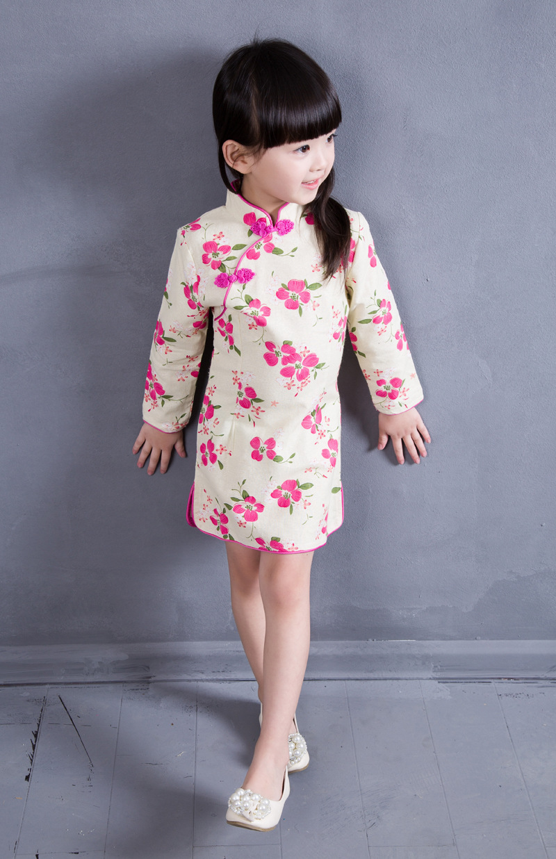 Plum Blossom 2 8T Cotton Girl Dress Trendy Kids Baby Girls