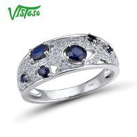 VISTOSO Genuine 14K 585 White Gold Fancy Blue Sapphire Shiny Diamond Ring For Women Engagement Anniversary Elegant Fine Jewelry