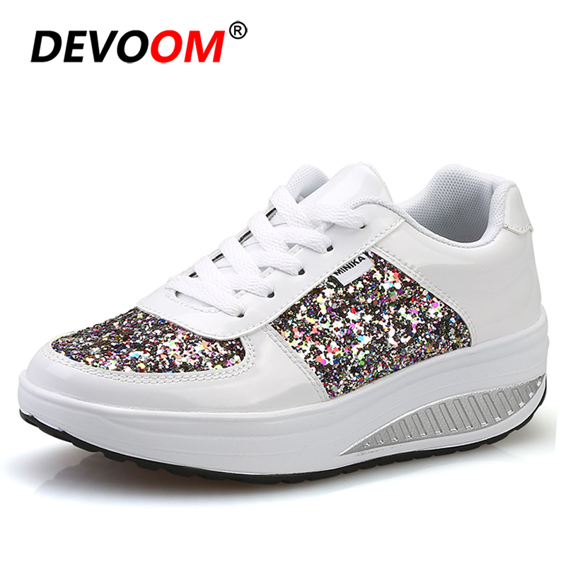 [40.01% OFF] Sneakers Women Height Increasing Shake Up Shoes Toning Shoes Shining Weight Losing Swing Shoes Thick Soles Golden Fitness Shoes