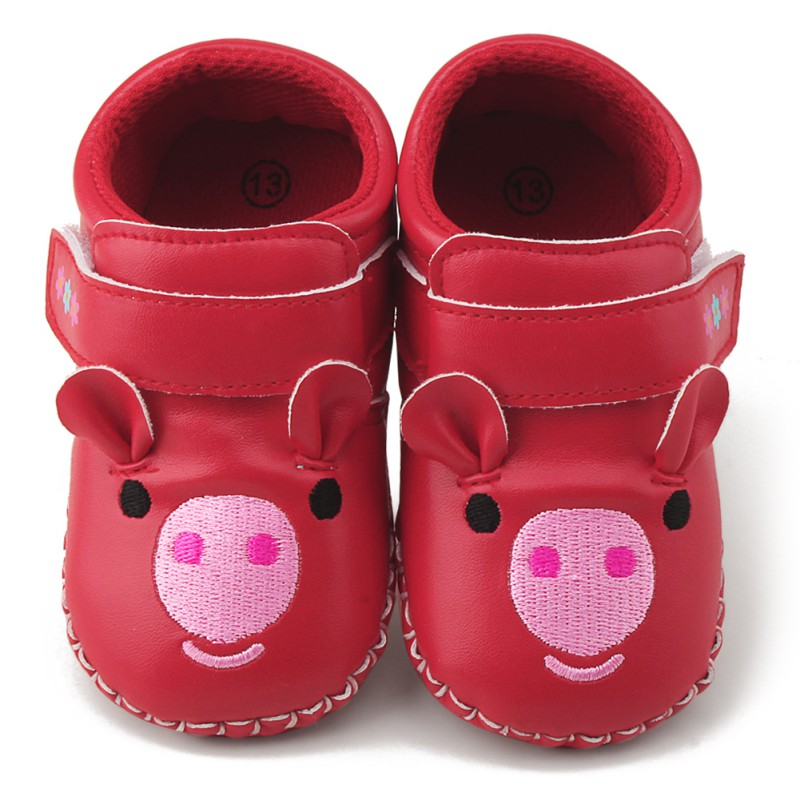 PU Toddler Baby Girls Cartoon Pig Embroidery Soft Shoes Infant Anti-slip First Walker Crib Shoes