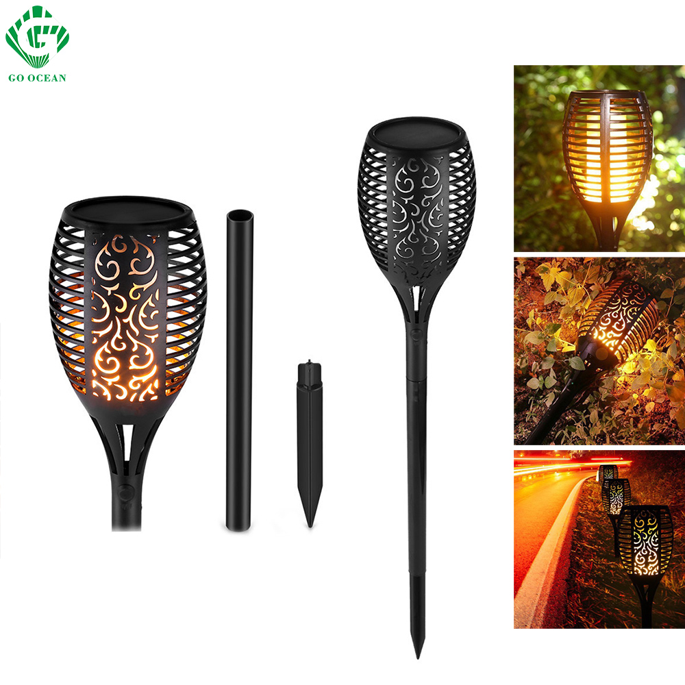 LED Solar Flame Lamps Flickering Lawn Lamp Torch Garden Outdoor Light Waterproof Decoration Path Street Yard Decor Lighting цена