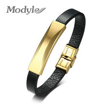 Modyle New Cool Man 100% Genuine Leather Handmade Punk Gold Color Stainless Steel Bracelet For Men(China)