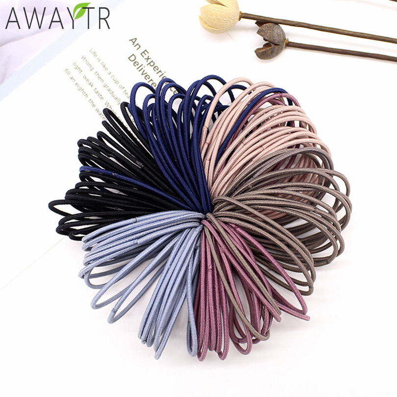 AWAYT 50pcs/Set 5CM Hair Accessories Women Rubber Bands Scrunchy Elastic Hair Bands Girls Headband Decorations Ties Gum for Hair|Women