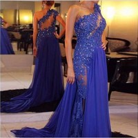 Royal Blue Evening Dresses 2016 Floor Length Chiffon See Through One Shoulder Appliqued Lace Party Gown Plus Size vestidos