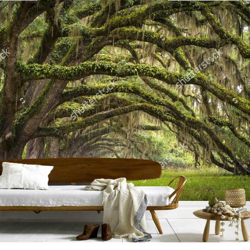 Custom natural scenery wallpaper Oaks Avenue Charleston 3D photos for living room bedroom restaurant wall silk