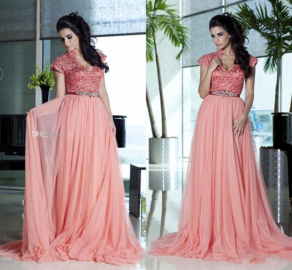 2016 Fashion C Sheer Formal Celebrity Evening Gowns Beaded Sash Lace Cap Sleeve V Neck Arabic India Zy1155 In Dresses From Weddings Events On