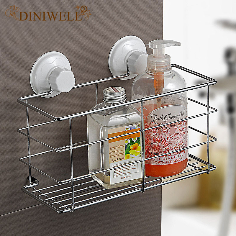 DINIWELL Square Bathroom Storage Sucker Metal Rack With Removable Wall Mount Holder Shelf For Bath Kitchen <font><b>Basket</b></font> Organizer