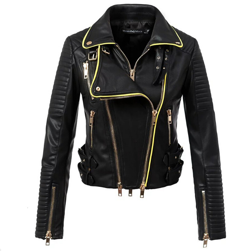 Gothic faux   leather   PU Jacket Women Winter Autumn Fashion Motorcycle Jacket Black faux   leather   coats Outerwear 2019 Coat HOT