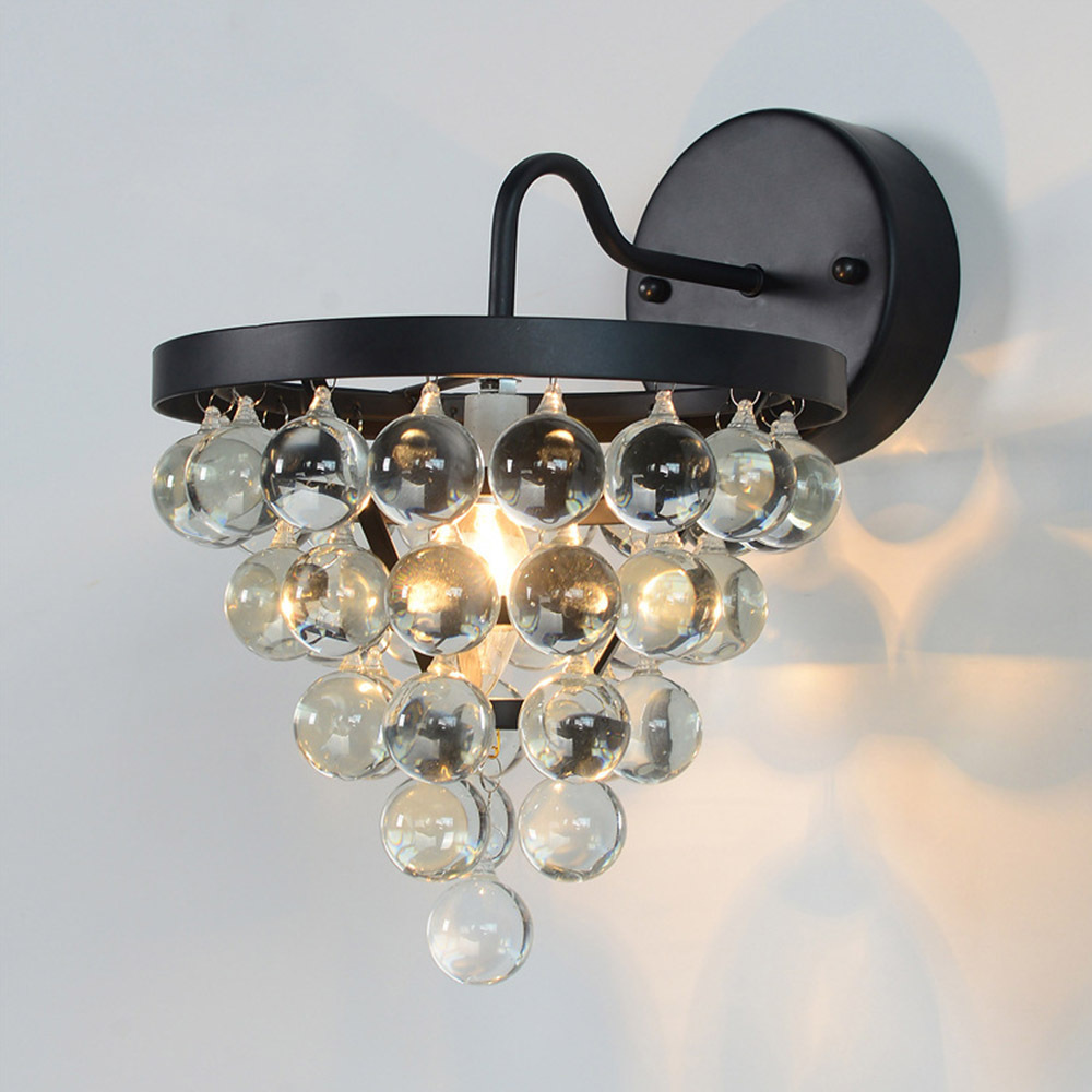 Classic crystal wall lamp lampshade 40w e27 bedroom aisles lighting luxurious home bar decorative wall lights in wall lamps from lights lighting on
