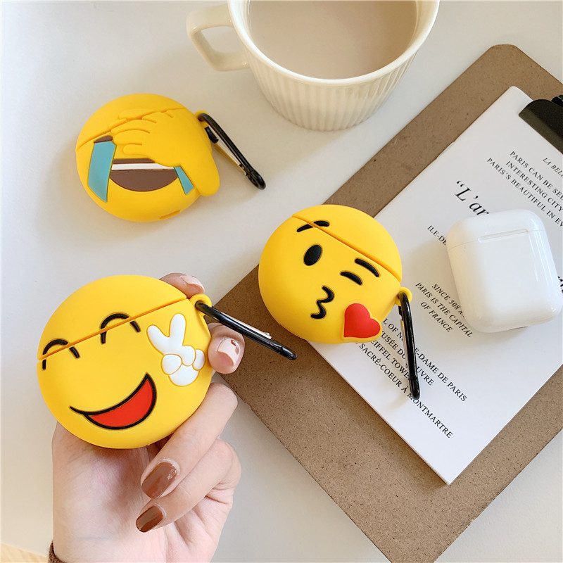 Funny Smiley Expression Case For Apple Airpods Cute Bluetooth Earphone Cover Cartoon Silicone Headphone Case Box Charging Bag