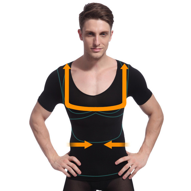 Men Slimming Abdomen Waist Control Gynecomastia  Body Shaper T-shirts  Posture Corrector Moisture Wicking Male Shapewear Tops