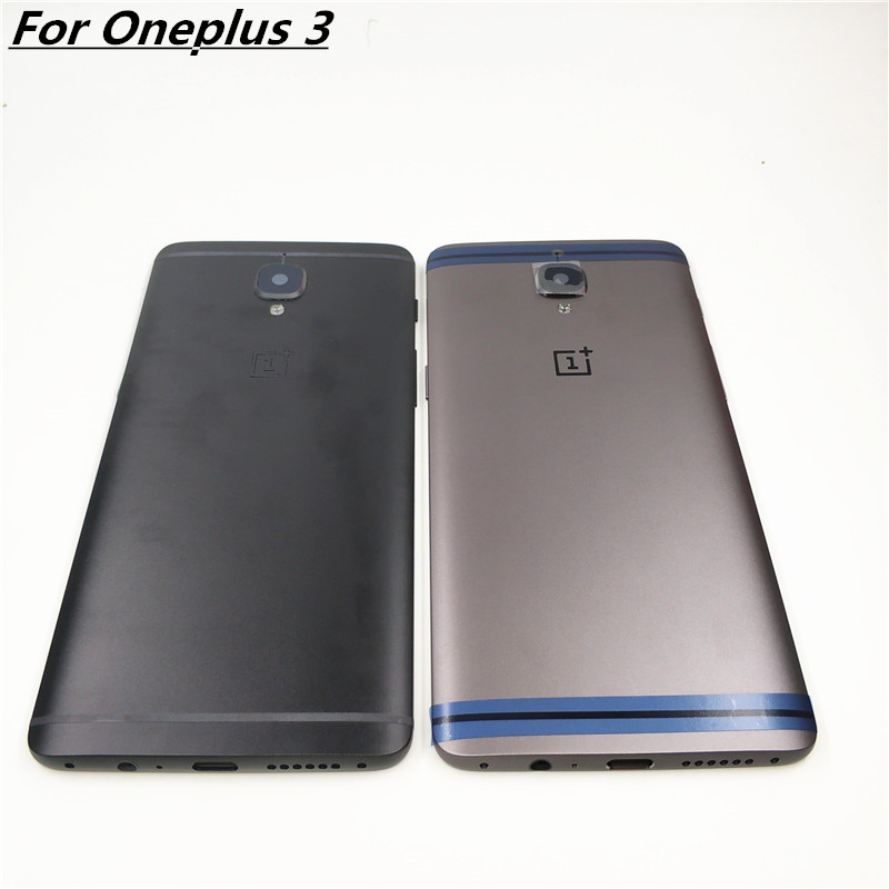 Original For ONEPLUS 3 3T Three Metal Rear Housing Cover Replacement Back Door Battery Case Card Slot/Side Button/Lens Glass