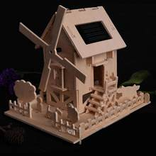 Children Intelligent DIY Wooden Solar Energy Powered Toy for Kids Architecture Model Building Kits Child Doll House Toy Gift(China)