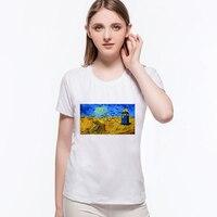 Harajuku Women Fashion T Shirt Van Gogh Abstract Oil Painting Starry Design Funny Vintage T Shirt
