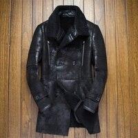 Новинка 2018 года зимние для мужчин модное пальто из натуральной овечьей кожи стрижки Длинная кожаная куртка двубортный черный