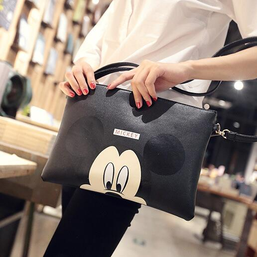 Fashion new Handbags High quality PU leather Women bag Mickey cartoon printing Sweet lady envelope bag Shoulder Messenger Bag new fashion women handbags cartoon printing composite bag set embossed pu leather bag lovely girls totes graffiti shoulder bag