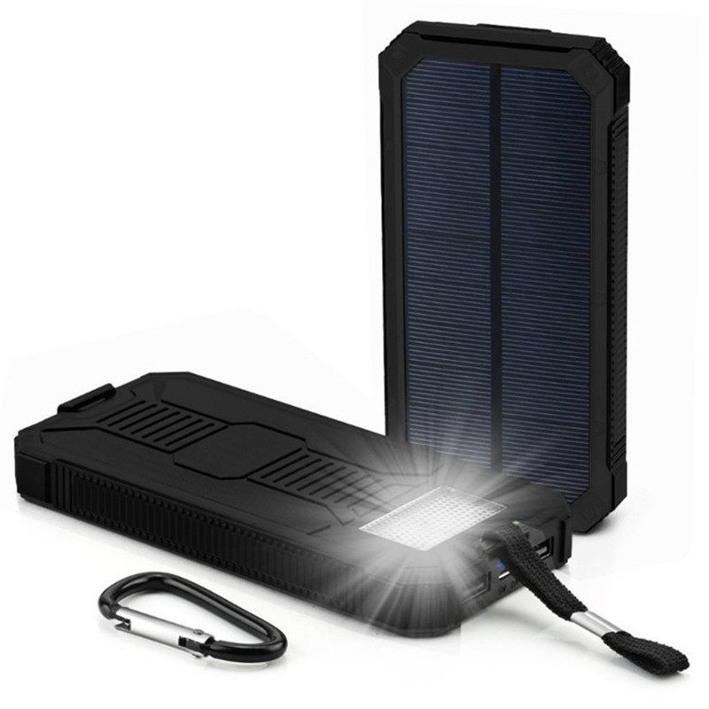 18650 Outdoor Waterproof 30000mah Solar Power Bank Charger External Battery LED Lighting Charging PowerBank for iPhone X 8plus