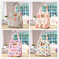 YILE Waterproof  Cotton Linen  Handbag Thermal Lunch Bag Portable Picnic Bag  Ice Cooler Bag Printed Bear Dog  Pink Blue 814