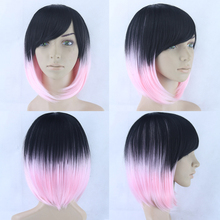 Harajuku Black Pink Mixed Short Straight Bob Wig Ombre Fsshion Heat Resistant Cosplay Wig Party Costume
