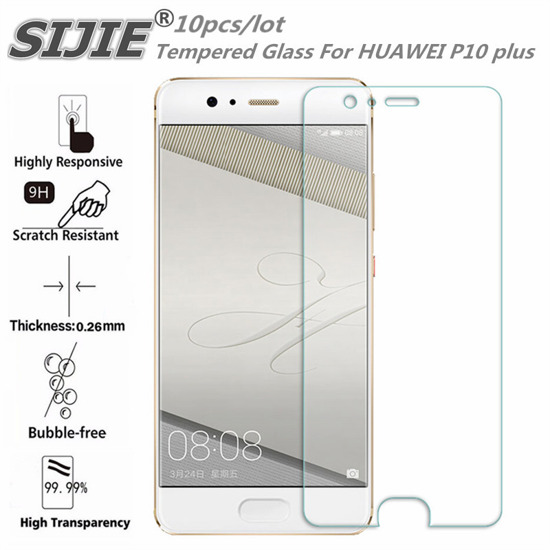 10PCS Tempered Glass For HUAWEI P10 plus VKY AL00 Screen protective 5 5 inch cover smartphone toughened case 9H on crystals thin in Phone Screen Protectors from Cellphones Telecommunications
