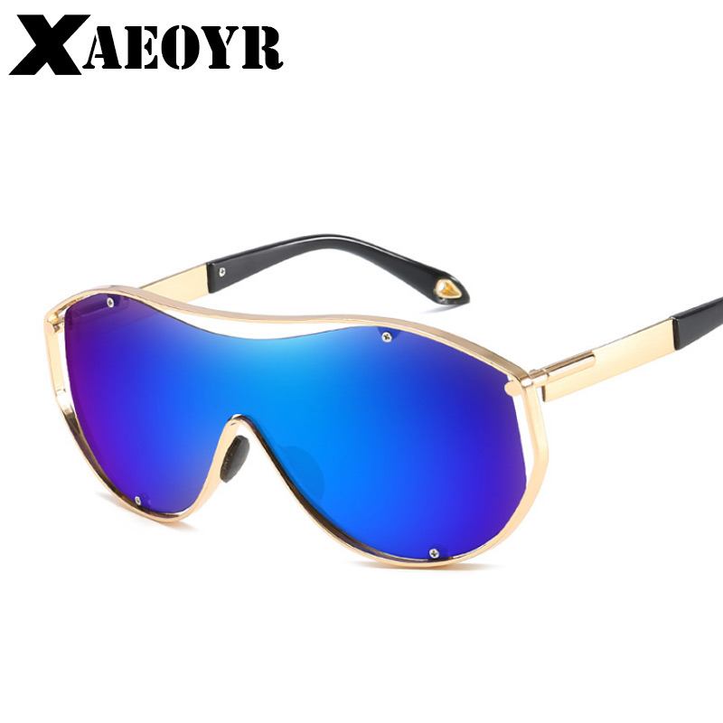 XAEOYR New UV400 Men Sunglasses One-piece Steampunk Goggles Impact-resistant Lens Big Size Metal Frame Sun Glasses STS025