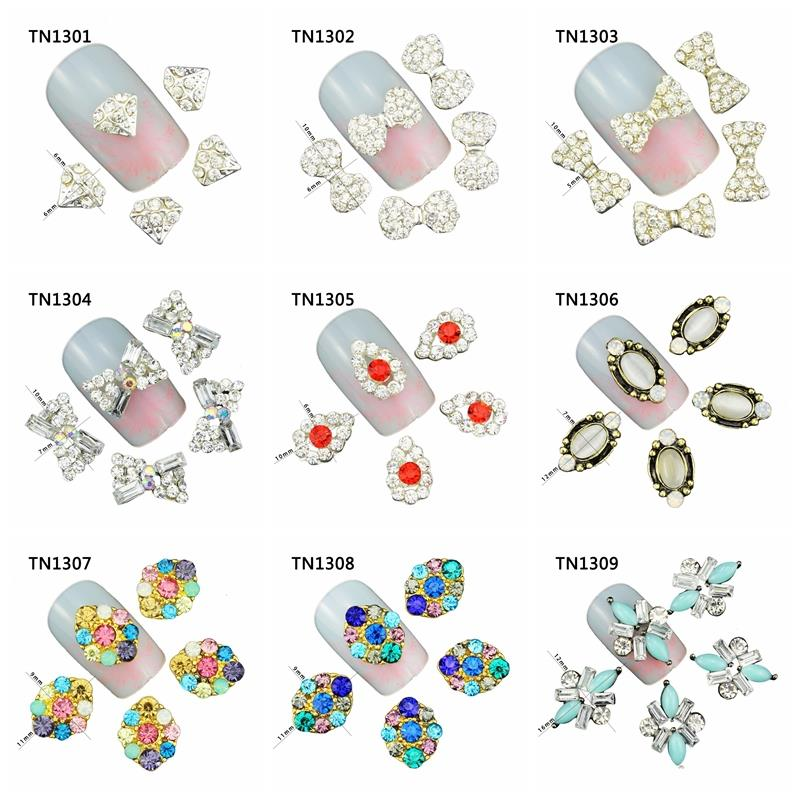 10 Pcs/Lot Bow Diamond Marquise Colorful Charms Rhinestones Nails Tools For Glitter 3D Nail Art Decorations TN1301-1309 галстуки