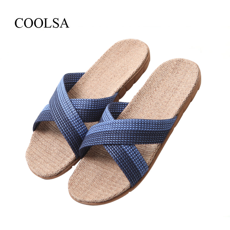 COOLSA New Arrival Men's Cross-belt Indoor Canvas Flat Non-slip Slippers Men's Home Linen Slippers Flax Slides Men's Flip Flops coolsa women s summer flat non slip linen slippers indoor breathable flip flops women s brand stripe flax slippers women slides