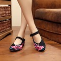 2016 Real Top Fashion Canvas Mary Janes Women Office & Career Chinese Flower Embroidery Shoes Flats SMYXHX-D0002