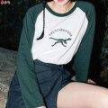Ulzzang Harajuku Coreano de Lujo Bordado Modelo Animal Dinosaurio Sudadera Delgada, bts Bf Mujeres Jumper Pullover Mujer Hoodies