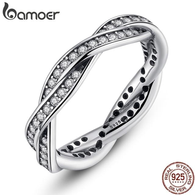 BAMOER 8 стиль плетеное, украшенное, листья мой корона принцессы королевы серебряное кольцо твист судьба стекируемые юбилей распродажа 2018