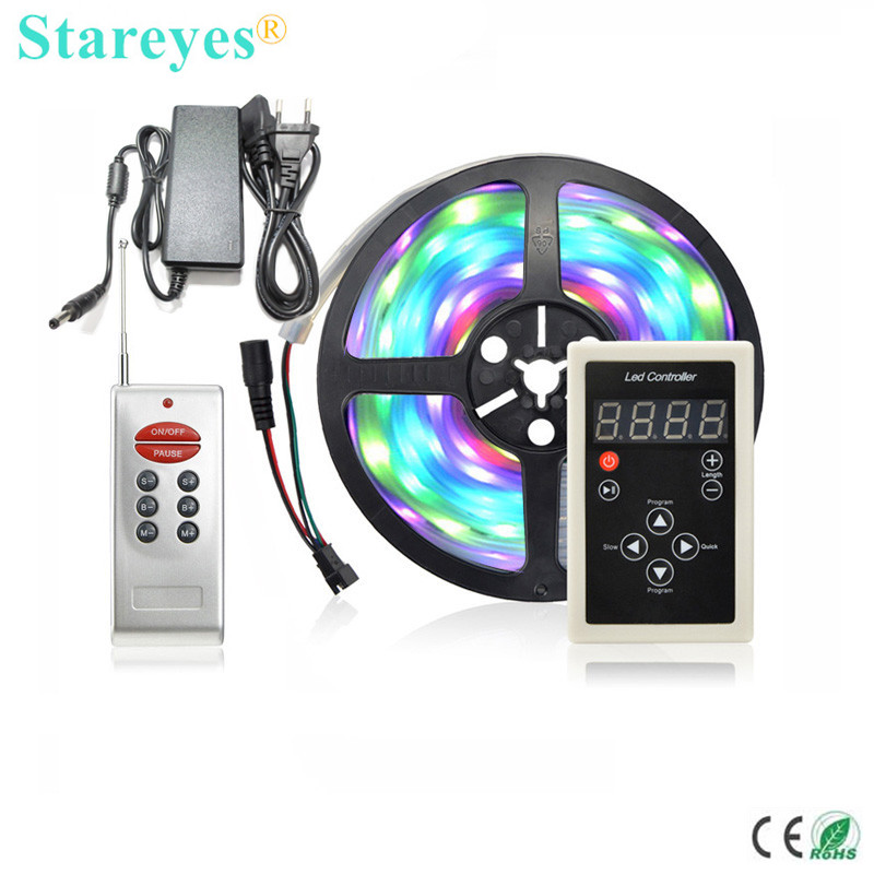 1 zestaw SMD 5050 5M Draw Marquee-LED Banner RGB Digital Strip Taśma IP67 Wodoodporna taśma flash + Remote + 5A Power Adapter