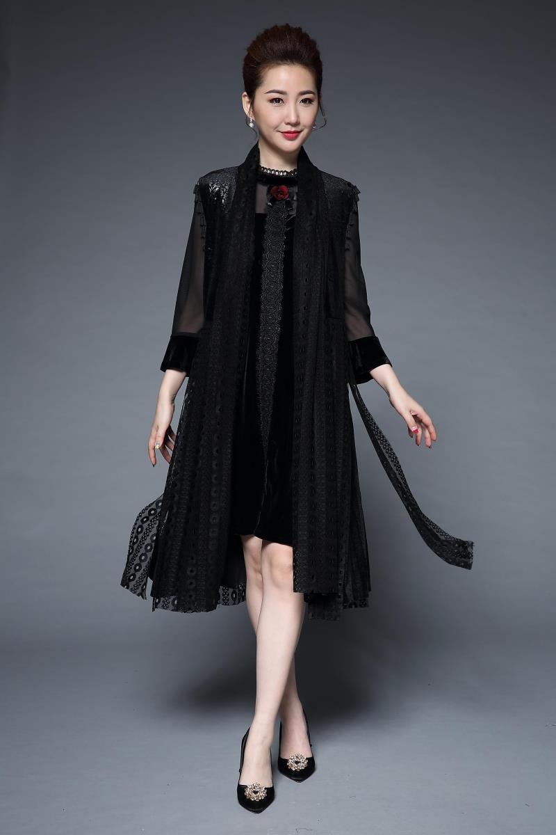 New2017Autumn Middle Age Women Plus size Elegant party Dress twinset ...