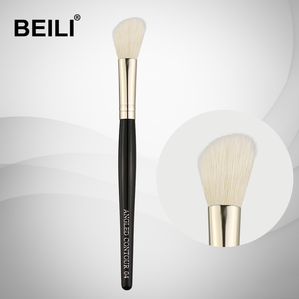 BEILI 1 Piece Goat Hair Black handle Silver ferrule Contour Single Makeup Brushes 04 makeup brushes