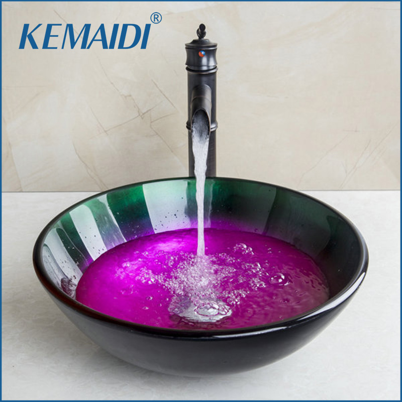 KEMAIDI Washbasin Lavatory Glass Sink +Bamboom Oil Black Brass Faucet Combine Brass Tap Mixer Faucet Bathroom Faucets Sink Taps
