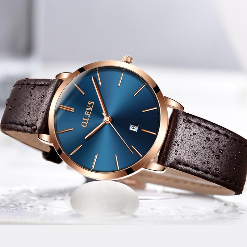e4ca509c251 Marca de Luxo Relógios para Mulheres Top Coréia Popular Casual Relógio de  Quartzo Couro Genuíno Ultra Fino à Prova d  Água Feminino