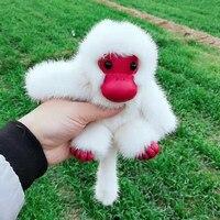 Cute real fur animal key chain Car ornaments mink monkey fur bag charm for women pendant soft white cartoon gift for children