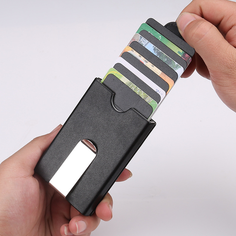 men metal wallets automatic credit card holder automatic