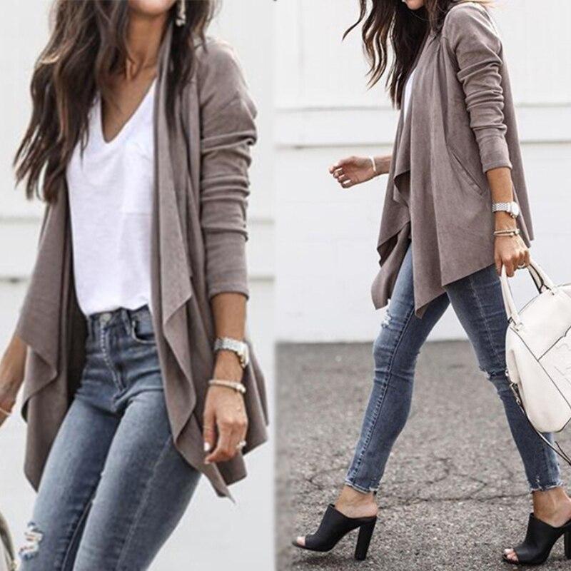 2018 Fashion Women Lapel Asymmetrical Hem Coats Cardigans   Suede   Faux   Leather   Jackets Long Sleeve Pockets Streetwear Outwear