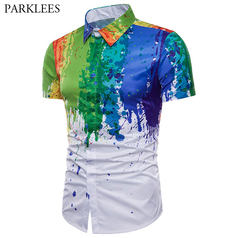 Mens Colorful Splatter Paint Pattern Print Shirt Brand Design Slim Fit Short Sleeve Chemise Homme Fashion Splash Ink Shirts Men