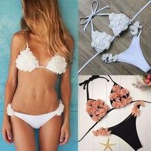 91b328d81b61e Two-Pieces Women Floral Push-up Padded Bra Bandage Bikini Set Triangle Swimsuit  Petal