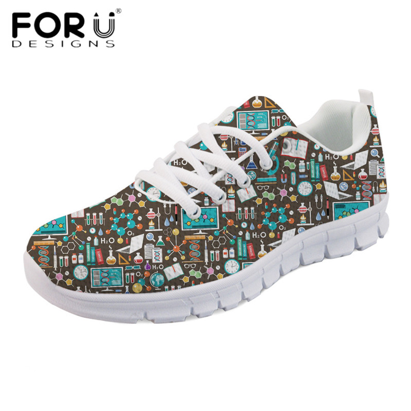 FORUDESIGNS Cartoon Science Print Teens Girls Casual Flats Ladies Comfortable Mesh Shoes Light Lace Up Women's Leisure Sneakers instantarts cute glasses cat kitty print women flats shoes fashion comfortable mesh shoes casual spring sneakers for teens girls