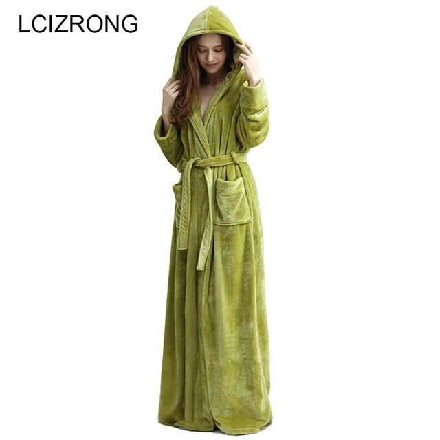 Зимние Удлиненные Теплые толстые с капюшоном для ванной Халат для женщин/для мужчин соблазнительное кимоно длинным рукавом ботильоны